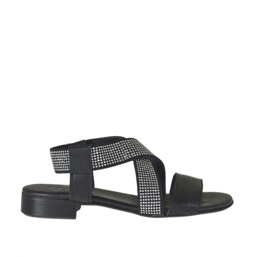 Woman's sandal in black leather with elastic band with rhinestones heel 2 - Available sizes:  32, 33, 34