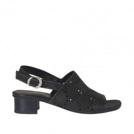 Sandalia para mujer en piel perforada negra tacon 3 - Tallas disponibles: 32, 33, 34, 42, 43, 44, 45