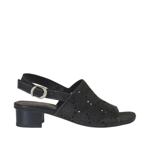 Woman's sandal in black pierced leather heel 3 - Available sizes:  33, 43, 44