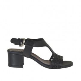 Sandalia para mujer en piel perforada negra tacon 4 - Tallas disponibles: 32, 33, 34, 42, 43, 44, 45