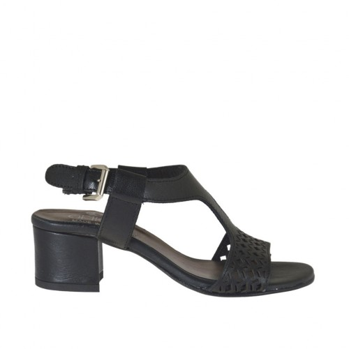 Woman's sandal in black pierced leather heel 4 - Available sizes:  44