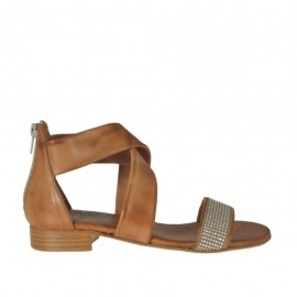 Woman's open shoe in tan brown leather with zipper and rhinestones heel 2 - Available sizes: 32, 33, 34, 42, 43, 44, 45