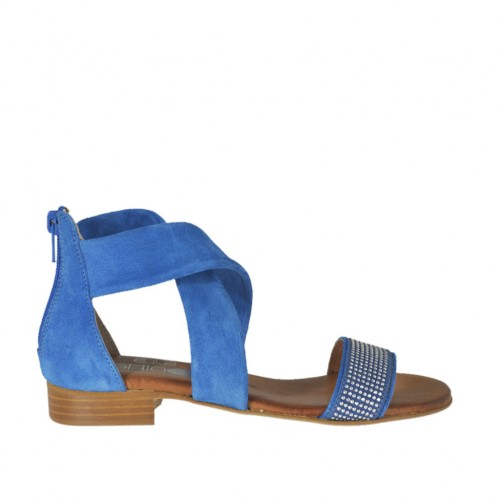 Woman's open shoe in blue suede with zipper and rhinestones heel 2 - Available sizes:  32, 33