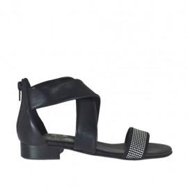 Scarpa aperta da donna in pelle nera con cerniera e strass tacco 2 - Misure disponibili: 32, 33, 34, 42, 43, 44, 45