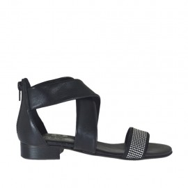 Woman's open shoe in black leather with zipper and rhinestones heel 2 - Available sizes: 32, 33, 34, 42, 43, 44, 45