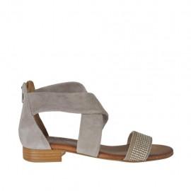 Zapato abierto con cremallera y estrás para mujer en gamuza gris pardo tacon 2 - Tallas disponibles: 32, 33, 34, 42, 43, 44, 45