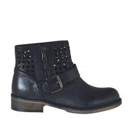 Woman's ankle boot with zipper and buckle in black leather and pierced leather heel 3 - Available sizes: 33, 34, 42, 43, 44, 45