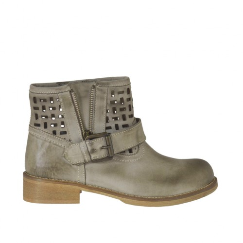Woman's ankle boot with zipper and buckle in taupe leather and pierced leather heel 3 - Available sizes: 33, 34, 42, 43, 44, 45