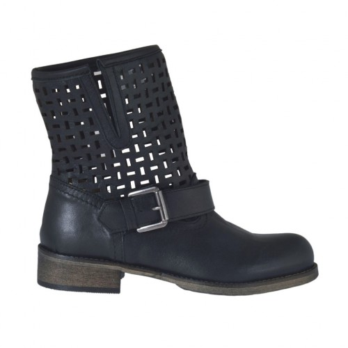 Woman's ankle boot with buckle in black leather and pierced leather heel 3 - Available sizes:  45
