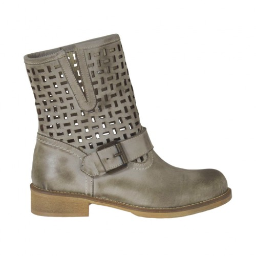 Woman's ankle boot with buckle in taupe leather and pierced leather heel 3 - Available sizes:  45