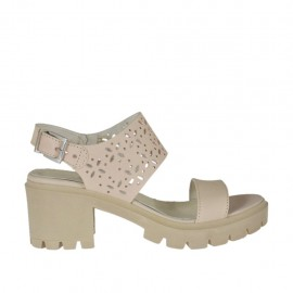 Sandalia para mujer en piel y piel perforada rosa polvo tacon 6 - Tallas disponibles: 32, 33, 34, 42, 43, 44, 45, 46