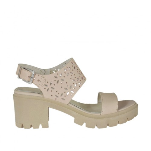 Woman's sandal in powder rose leather and pierced leather heel 6 - Available sizes:  32, 33, 34, 43, 44, 45, 46