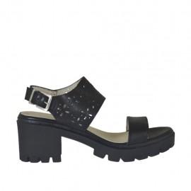 Sandalia para mujer en piel y piel perforada negra tacon 6 - Tallas disponibles: 32, 33, 34, 42, 43, 44, 45, 46