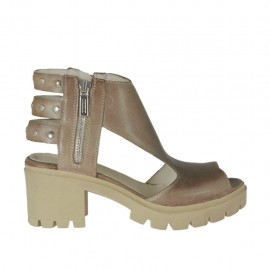 Woman's sandal with zippers and studs in taupe leather heel 6 - Available sizes: 32, 33, 34, 42, 43, 44, 45, 46