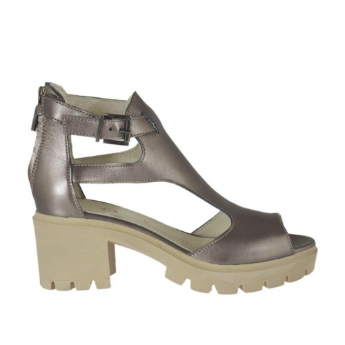Woman's open shoe with zipper and strap in lead grey laminated leather heel 6 - Available sizes:  33, 34, 42, 43, 44