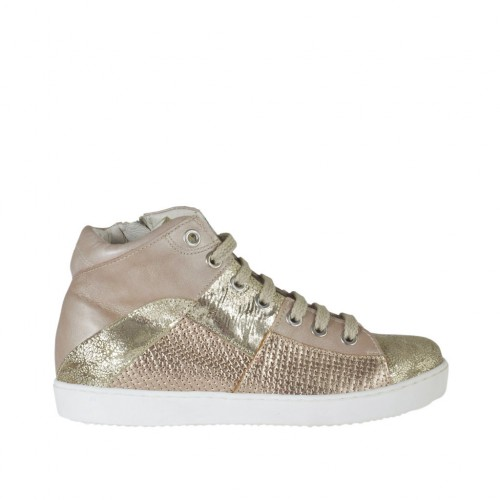 Woman's laced shoe with zipper in rose, platinum laminated printed and copper leather with braided print wedge heel 2 - Available sizes:  33, 42