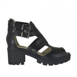 Zapato abierto con hebillas y cremallera para mujer en piel negra tacon 6 - Tallas disponibles: 32, 33, 34, 42, 43, 44, 45, 46
