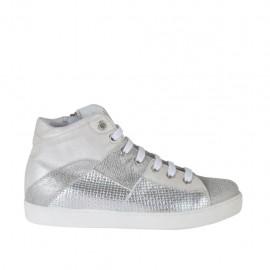 Chaussure avec fermeture éclair et lacets en cuir ivoire, imprimé lamé gris et imprimé tressé argent talon compensé 2 - Pointures disponibles:  34