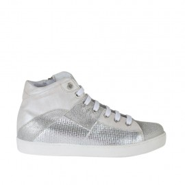 Zapato para mujer con cordones y cremallera en piel marfil, estampada laminada gris y imprimida trensada plateada cuña 2 - Tallas disponibles:  33, 34, 42, 43
