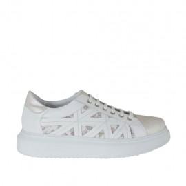 Chaussure pour femmes à lacets en cuir blanc et ivoire et cuir multicouleur imprimé floreal talon compensé 4 - Pointures disponibles:  42, 43, 44, 45