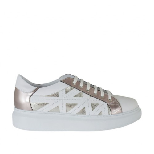 Woman's laced shoe in white, laminated rose and laminated platinum printed leather wedge heel 4 - Available sizes:  42, 44