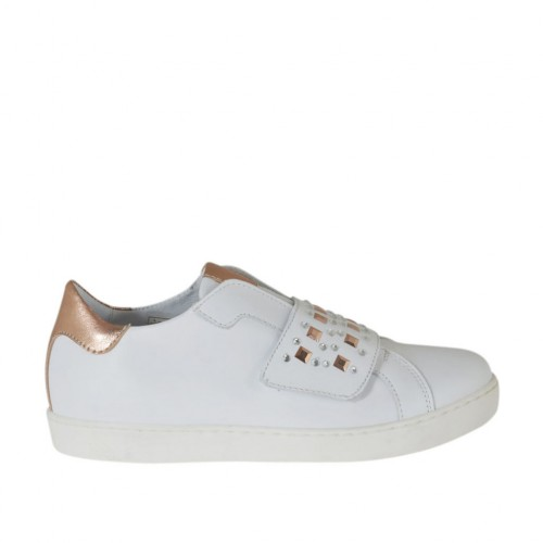 Woman's highfronted shoe with velcro strap, rhinestones and studs in white and laminated copper leather wedge 2 - Available sizes:  33, 34