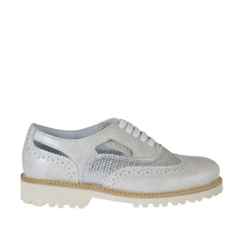 Woman's laced shoe with sidecuts in ivory and silver leather with braided print heel 3 - Available sizes:  45, 46