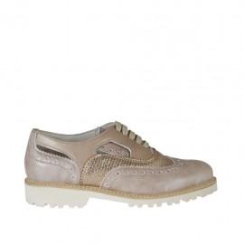 Zapato para mujer abierto al lado con cordones en piel rose y laminada imprimida trensada cobre tacon 3 - Tallas disponibles: 33, 34, 42, 43, 44, 45, 46