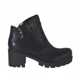 Damenstiefelette mit Reißverschlüssen aus schwarzem Leder und perforiertem Leder Absatz 6 - Verfügbare Größen:  34