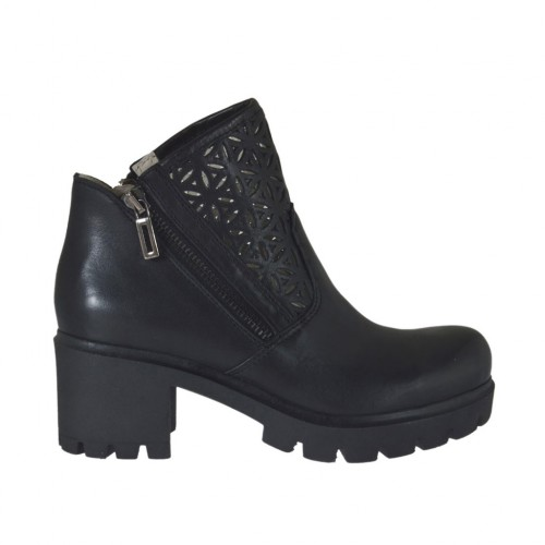 Woman's ankle boot with zippers in black leather and pierced leather heel 6 - Available sizes:  34