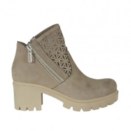 Woman's ankle boot with zippers in taupe nubuk and pierced nubuk leather heel 6 - Available sizes:  34, 42, 43, 44, 45