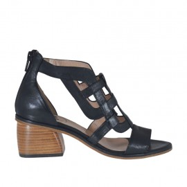 Woman's open shoe with zipper in black leather heel 5 - Available sizes: 32, 33, 34, 42, 43, 44, 45