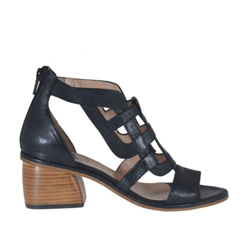 Woman's open shoe with zipper in black leather heel 5 - Available sizes:  33