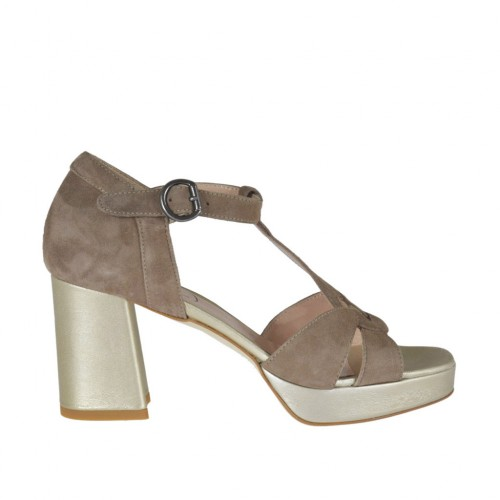 Woman's open shoe with t-strap and platform in taupe suede and platinum laminated leather heel 7 - Available sizes:  42