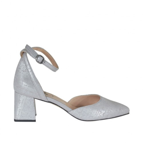 Woman's open strap shoe with pointy tip in silver laminated printed leather heel 5 - Available sizes:  44, 45