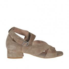 Zapato abierto para mujer en gamuza gris pardo con cinturon tacon 3 - Tallas disponibles: 32, 33, 34, 42, 43, 44, 45