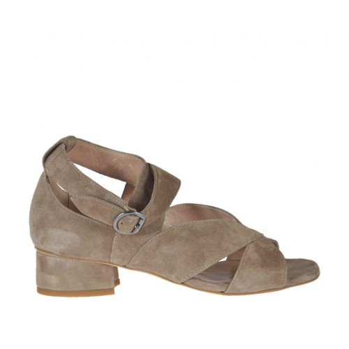 Woman's open strap shoe in taupe suede heel 3 - Available sizes:  32, 43, 45