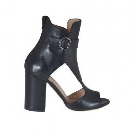 Scarpa accollata aperta da donna con cinturino e cerniera in pelle nera tacco 8 - Misure disponibili: 32, 33, 34, 42, 43, 44, 45