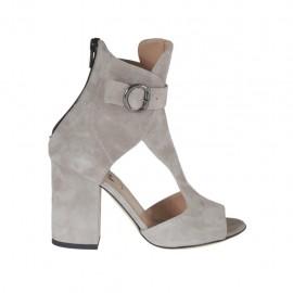 Scarpa accollata aperta da donna con cinturino e cerniera in camoscio grigio tacco 8 - Misure disponibili: 32, 42, 43, 45