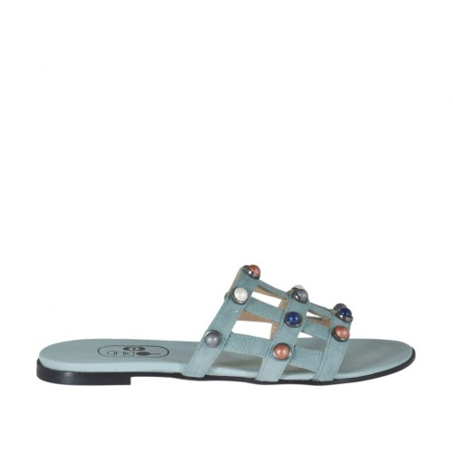 Women's open mule with multicolored pearls in turquoise suede heel 1 - Available sizes:  32, 33, 34, 43