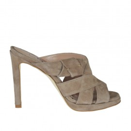Woman's mules in taupe suede with platform and heel 9 - Available sizes:  42, 43, 44