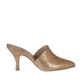 Sabo con punta cerrada para mujer en piel laminada cobre con lunares tacon 7 - Tallas disponibles:  42, 43