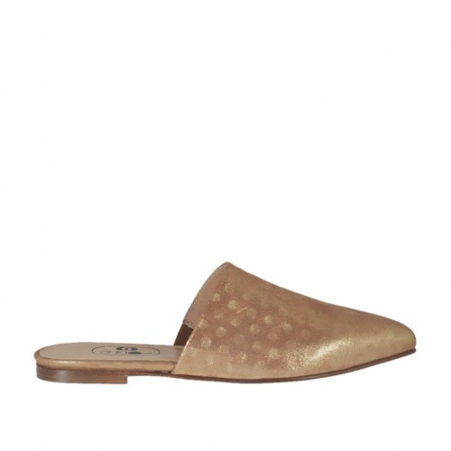 Woman's closed toe mules in polka-dotted copper laminated leather heel 1 - Available sizes:  33, 34, 42