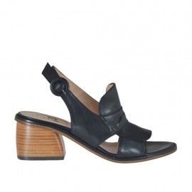 Woman's sandal in black leather heel 5 - Available sizes: 32, 33, 34, 42, 43, 44, 45