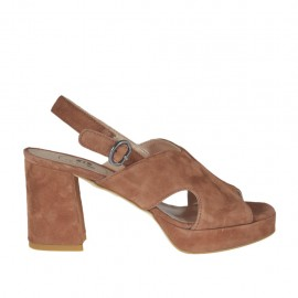 Woman's sandal in earth brown suede with platform heel 7 - Available sizes: 32, 33, 34, 42, 43, 44, 45
