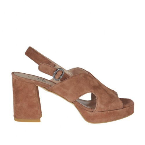 Woman's sandal in earth brown suede with platform heel 7 - Available sizes:  42, 44, 45