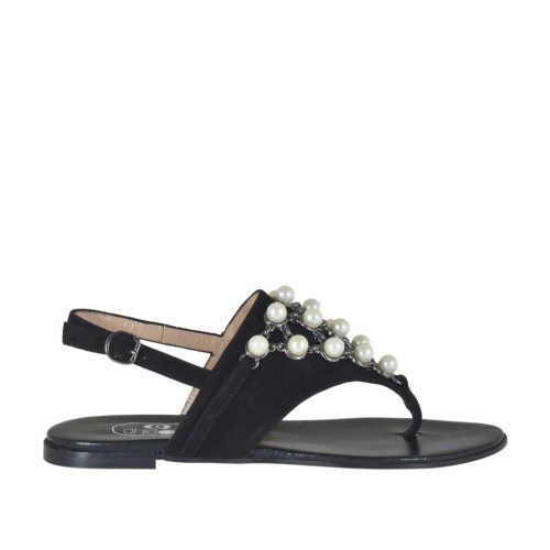 Woman's flip-flop sandal with pearls in black suede heel 1 - Available sizes:  33, 34, 43, 46