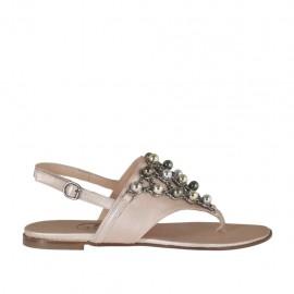 Sandale entredoigt pour femmes avec perles multicouleurs en cuir lamé rose talon 3 - Pointures disponibles: 32, 33, 34, 42, 43, 44, 45, 46