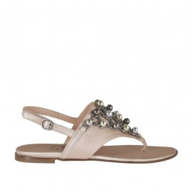 Woman's flip-flop sandal with colored pearls in rose laminated leather heel 1 - Available sizes: 32, 33, 34, 42, 43, 44, 45, 46
