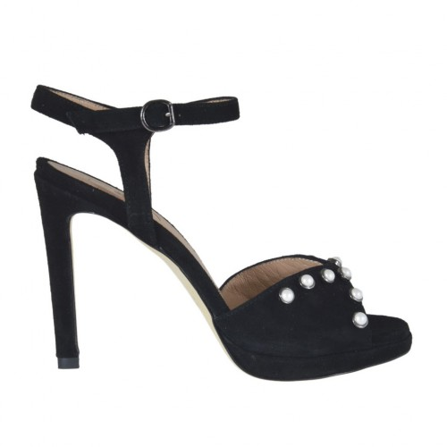 Woman's strap sandal with platform and pearls in black suede heel 10 - Available sizes:  42, 43, 44
